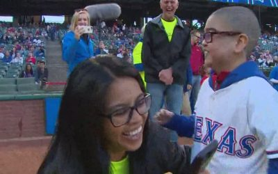 Austin Lewis Throws First Pitch at Rangers Game