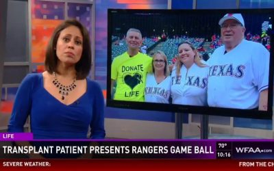 Rodney DeBaun and the Nicklas Family Present Game Ball at Rangers Game